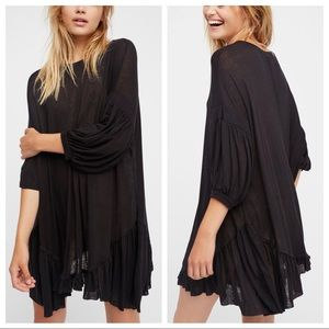 Free People Beach Black Riverside Tunic Dress Sz L